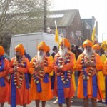 Panj Pyarey (five beloved ones) leading the 2012 Nagar Kirtan
