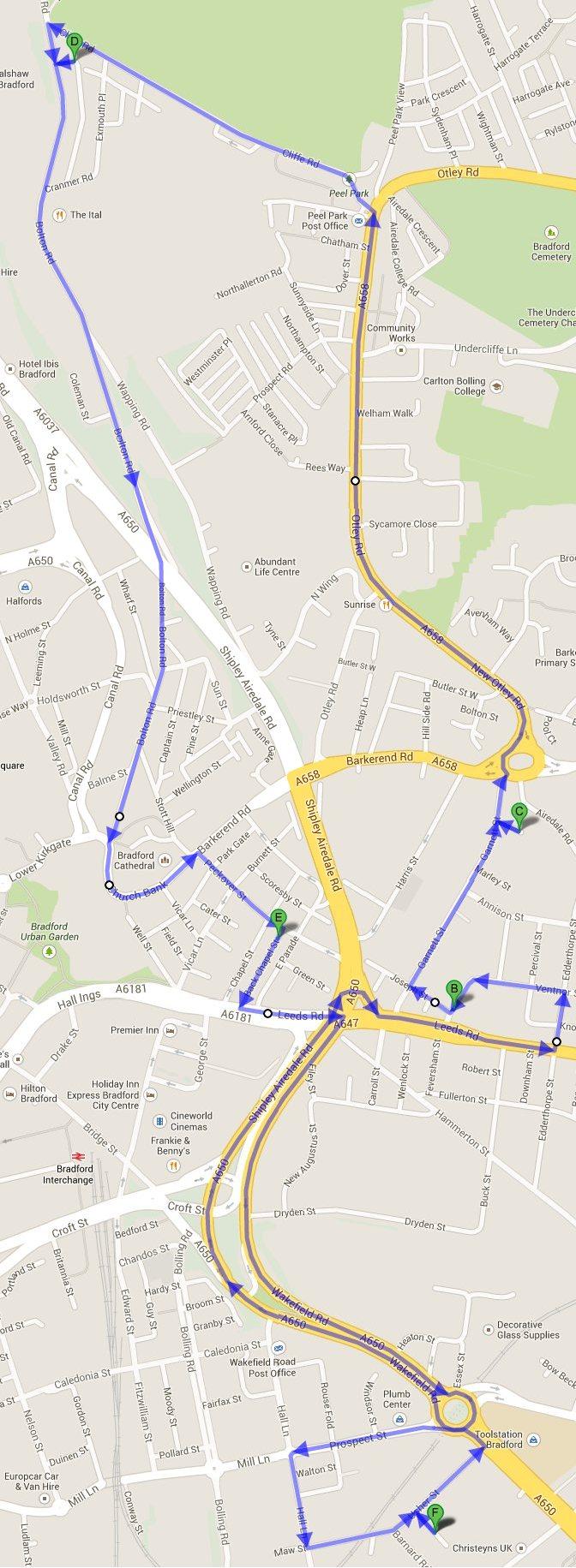 The Vaisakhi 2014 Nagar Kirtan route