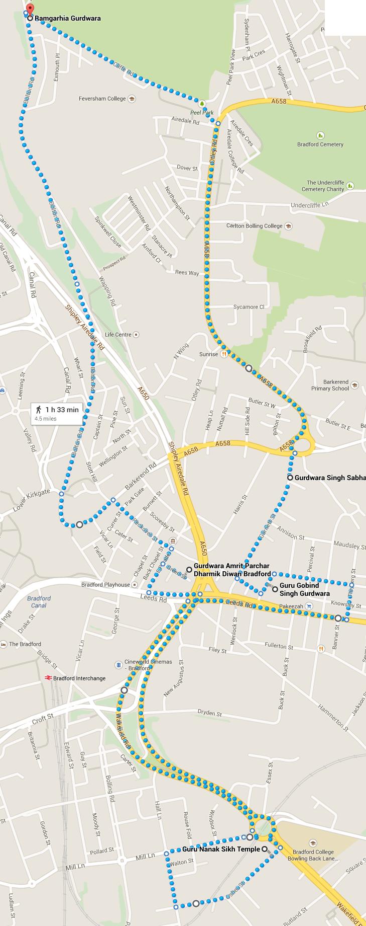The Vaisakhi 2015 Nagar Kirtan route
